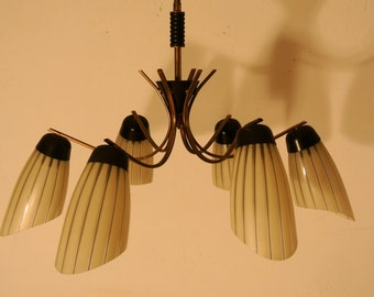 50s hanging chandelier with brass frame