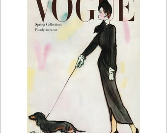 Vintage Vogue Dog Poster Print, Canine Couture, 1940s Dachshund Dog Picture Art Deco Fashion Art, Dog Art with 11 x 14 Mat