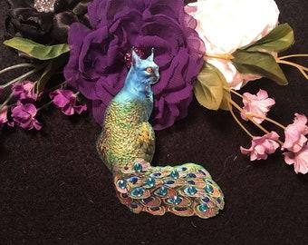 Peculiar Peacock Kitty Chipboard Embellishments 3D Gems DarlingArtByValeri Butterfly Set Scrapbooking Mini Albums Card Making Cat Oddity