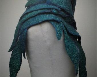 Teal nuno felt shawl