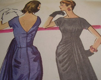 Vintage 1950's McCall's 3855 Dress Sewing Pattern, Size 12, Bust 32
