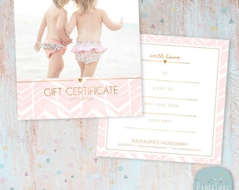Photography Gift Certificate Photoshop template - VG010 - INSTANT DOWNLOAD