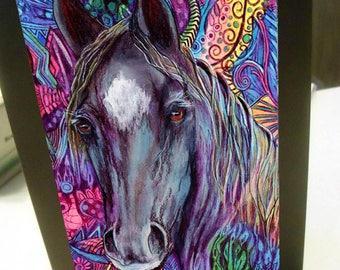 greeting card zentangle black horse walking blank card