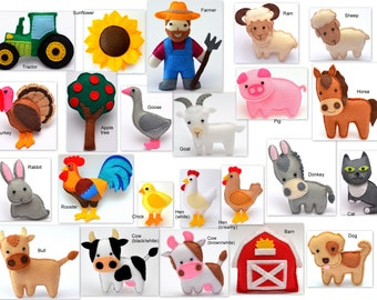 FARM ANIMALS Felt toys, ornaments, magnets - Price per 1 item - make your own set - Hen,Sheep,Cow,Bull,Horse,Donkey,Goat,Turkey,Rooster,Dog