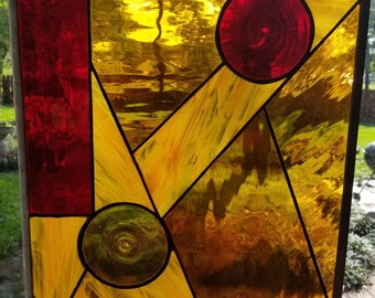 Gold and red panel Stained Glass window