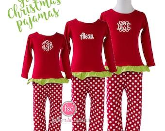 girls personalized christmas pajamas kids christmas pajamas toddler christmas pajamas holiday christmas pajamas - Girl Christmas Pajamas