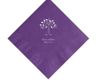 Tree Design Wedding Napkins Personalized Set of 100 Napkins