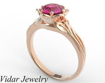 Flower Engagement Ring,Pink Sapphire Engagement Ring,Unique Engagement Ring,Solitaire Engagement Ring,14k Rose Gold Engagement Ring,Leaves