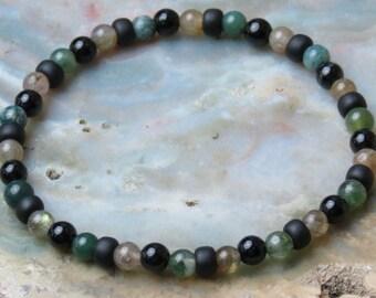 Leo Boy's Power Healing Stone Bracelet or Anklet with Jasper, Onyx and Labradorite!