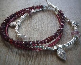 Genuine Garnet Braclet - Triple Garnet Braclet - Garnet Jewelry- Stacking Braclet
