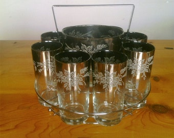 Vintage Mid Century Modern Silver Fade Embossed Bar Glasses with Ice Bucket and Carrying Rack