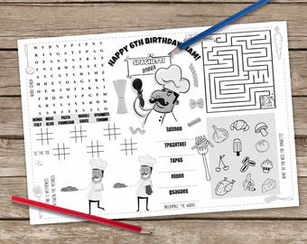 Printable Spaghetti Placemat, Kids Activity Table Mat, Pasta Printable, Spaghetti Dinner Craft, Activity Page, Italian Printable Placemat