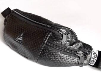 Fanny Pack, Hip Pack, Black Eco Leather Hip Bag Distant Land