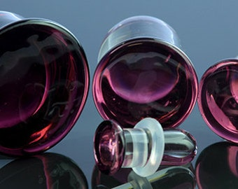 "SF Purple Colorfront glass plugs:  14g, 12g, 10g, 8g, 6g, 4g, 2g, 0g, 00g (10mm), 7/16"" (11mm), 12mm, 9/16"" (14mm), 5/8"" (16mm)f"