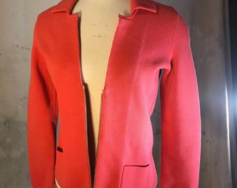 carlisle peach salmon pink red designer gift quality cardigan zip front pocket blazer