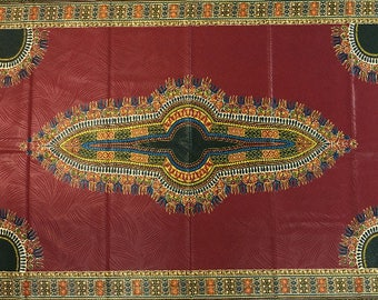 African Dashiki Print Whole 6 Yards/Java Print/African Print Fabric/Ankara Print/ African Cloth/100% Cotton/Dark Red