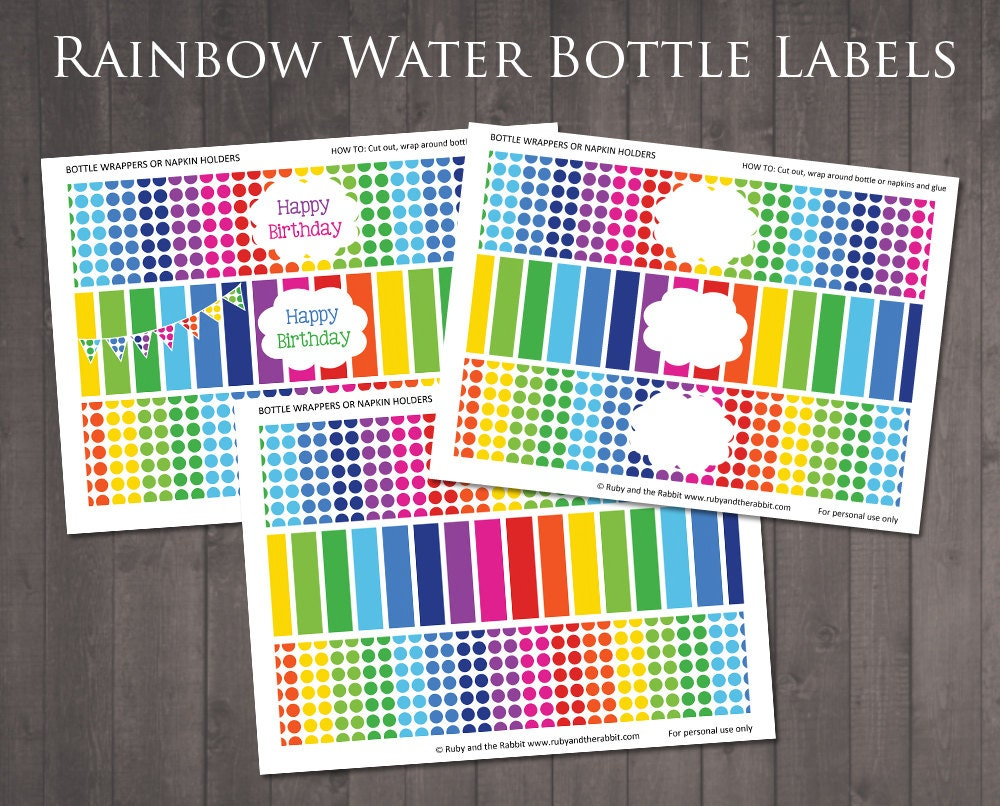 INSTANT DOWNLOAD Printable Rainbow Water Bottle Labels - Blank water bottle label template
