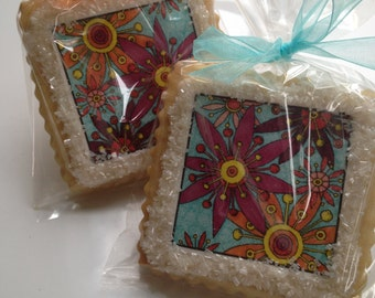 Passionate Colorist shortbread cookie favors custom cookies-- 1 dozen