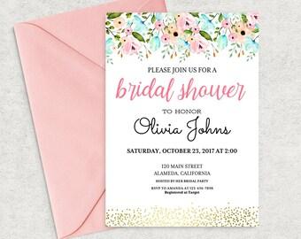 Bridal Shower Invitation Instant Download, Editable Bridal Shower Invitation Template, Printable PDF, DIY Bridal Brunch Invitation, BS-03