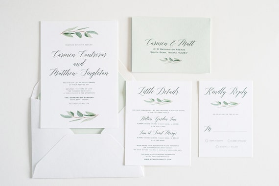 Wedding invitation greenery eucalyptus simple calligraphy stopboris