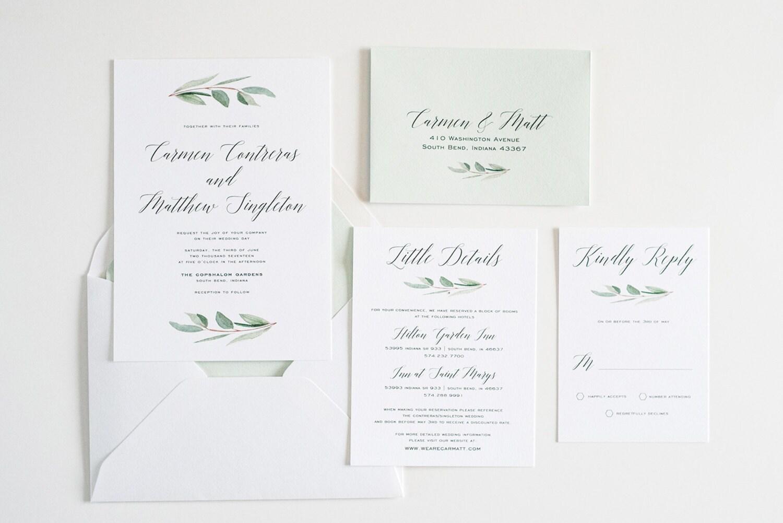 Wedding Invitation greenery Eucalyptus Simple Calligraphy
