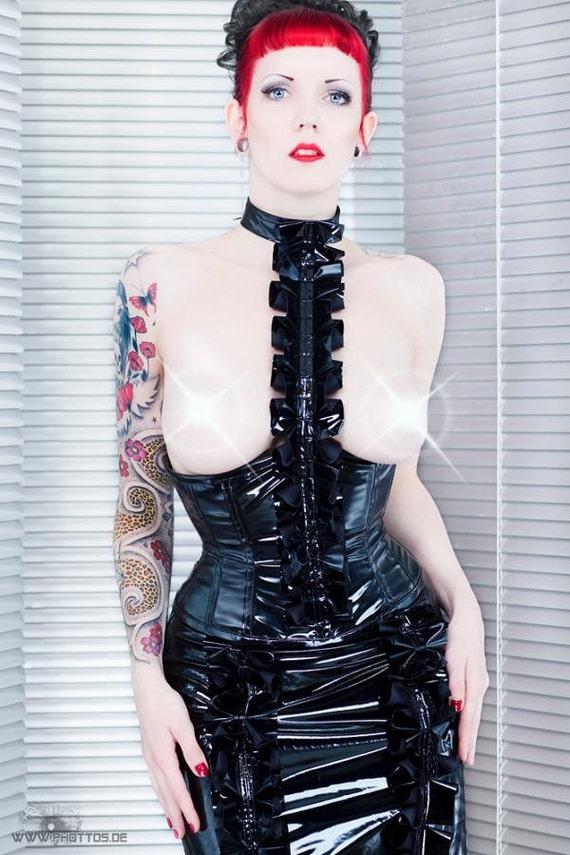 korsett corsage lack fetish dark black gothic rüschen viktorian sample sale