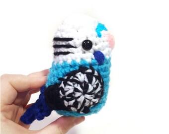 Blue Budgie - Crochet Budgie Amigurumi Bird - Parakeet Doll - Pet - Gift - Bird Replica - READY TO SHIP