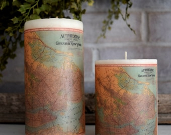 New York Antique Map Pillar Candle