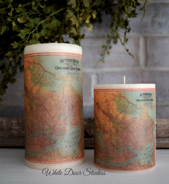 New York Antique Map Pillar Candle