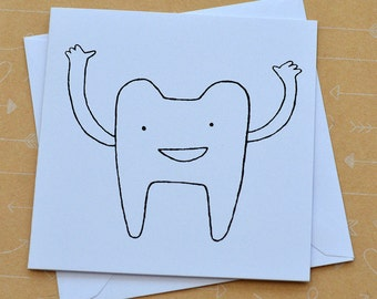 Tooth Small Screenprinted Card