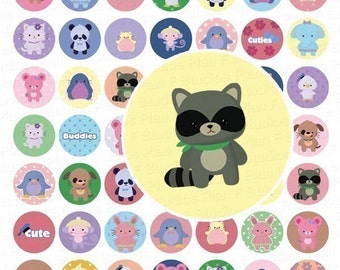 Cute Teeny Tinies Animals Digital Collage Sheet - 1 Inch Round Circles - Instant Download