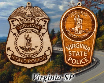 Personalized Wooden VA State Police Christmas Ornament