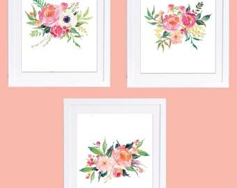 Set of 3 Prints, Peony Prints, Printable Art, Coral Nursery Decor, Boho Printable, Peony Art, Floral Nursery Art, Watercolor Flowers