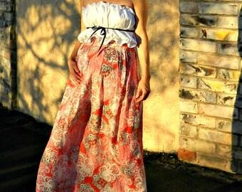 Long Skirts for Women-Long Skirt-Maxi Skirt-Womens Skirts-Tissue Linen Paisley Skirt-Maternity Clothing Bride Chic-Many Sizes Colors