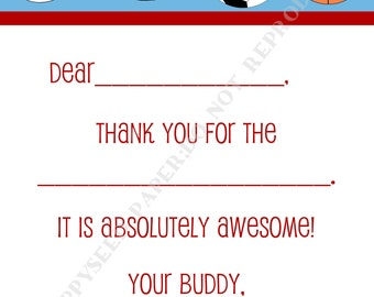 Fill In Thank You Notes Kids- Children- Boy- Stationery-Sports- Birthday Party