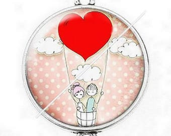 Large silver cabochon connector love couple Valentine's day 4