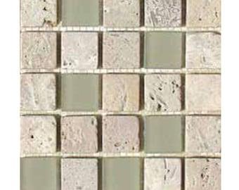 "Fossil Glass Travertine tile mix 1"""