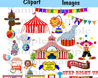 Circus Carnival Digital clipart INSTANT DOWNLOAD Animal Circus clip art Circus Train Clipart For Personal and Commercial Use