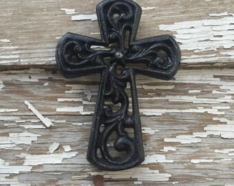 Small Black Distressed Cast Iron Wall Decor Cross