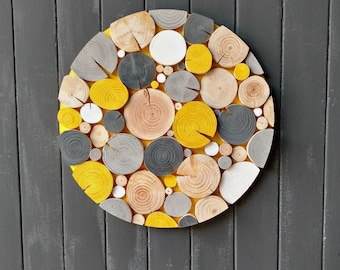 LOG MOSAIC Wall Art - wood slice art - Yellow - Grey - Wall Decor - Unique - Picture - Artwork - Wall Hanging - natural wood - modern