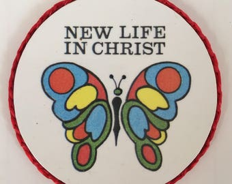 New Life in Christ handmade religious vintage magnet made in 1990's