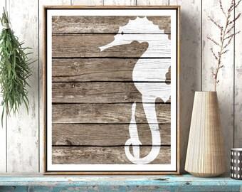 Seahorse Wall Decor Art - Beach Wall Art, Rustic Nautical Wall decor, Sea Life art Nautical Nursery Art Nautical Bathroom Decor, Coastal Art