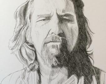Big Lebowski, Jeff Bridges, The Dude, Jeff Bridges pencil portrait, Big Lebowski art, Pencil portrait, movie star portrait, pencil drawing