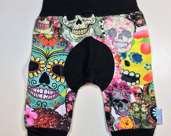 Colorful Sugar SKULLS Size Grow Along With Me Pants