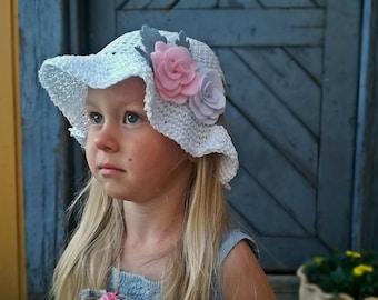 Crochet Sun Hat, White Hat, Girls Summer Hat, Crochet Summer Hat, Kids Hat, Kids Summer Hat, Toddler Hat, Cotton Hat, Cotton Summer Hat