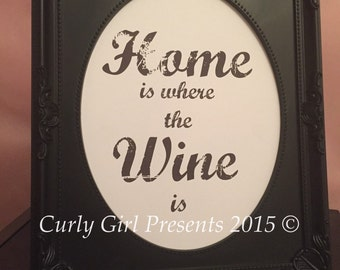 Home is Where the Wine is  Print Present Gift Decor