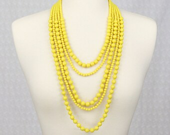 Multi Strand Statement Necklace Multi Layered Beaded Necklace Long Necklace Chunky Necklace Yellow