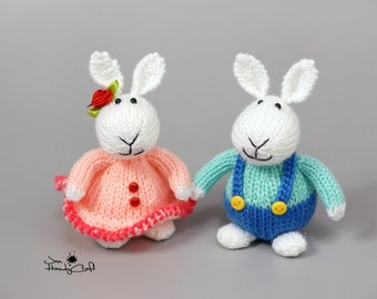 Bunny couple gift Plush bunny rabbit White bunny rabbit pair Hand knit bunny Stuffed bunny Wedding gift Plush rabbit Stuffed animal