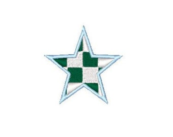 Star checked green / blue