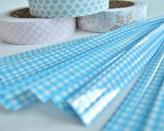 Set of 50 Blue Gingham Twist Ties